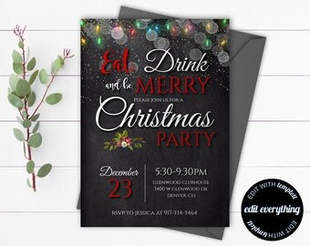 Christmas Party invitation template - Printable Christmas Invitation Holiday Party - Christmas Party Invitation - Christmas Lights invite