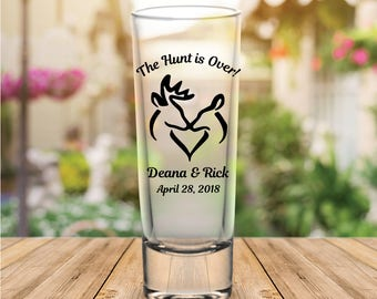 "Custom ""The Hunt is Over!"" Tall Wedding Favor Shot Glasses"