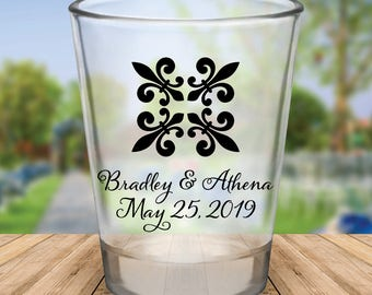 Custom Fleur de Lis Design Wedding Favor Shot Glasses
