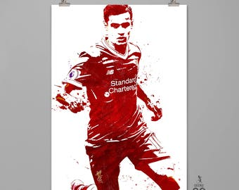 Philippe Coutinho Liverpool Art Print Football poster Sports wall decor Modern art print  Any room wall decor Contemporary art #0079