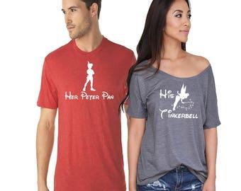 Her Peter Pan His Tinkerbell Disney Couples Shirt. Disneyland Matching Shirts. Disney Valentines Day