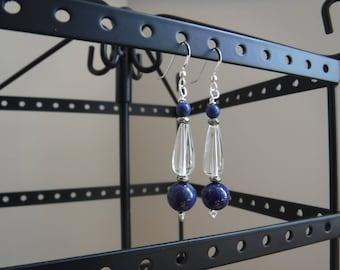 Blue Lapis Clear Quartz and Pyrite Earrings