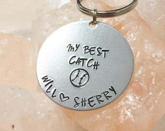My Best Catch Baseball Keychain, Baseball Gift for Him, Baseball Gift, Boyfriend Baseball Gift, Baseball Gift for Him, Gift for Baseball Fan