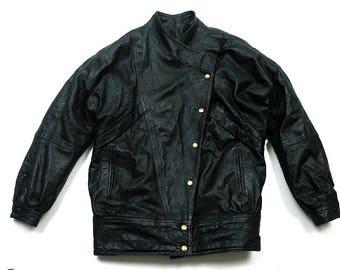 Vtg Ramones Leather biker Jacket 80's / made in UK / Size like L , XL