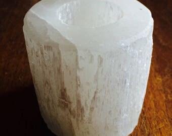 White Selenite Candle Holder
