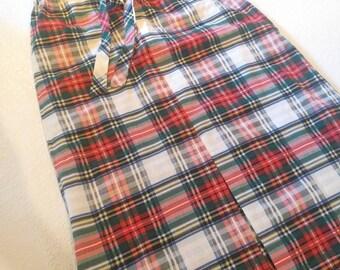 Vintage Plaid Maxi Skirt with Front Slit sz S/M