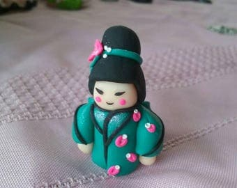 Teal dress chibi doll