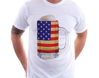 USA Country Flag Beer Mug Tee, Home Tee, Country Pride, Country Tee, Beer Tee, Beer T-Shirt, Beer Thinkers, Beer Lovers Tee