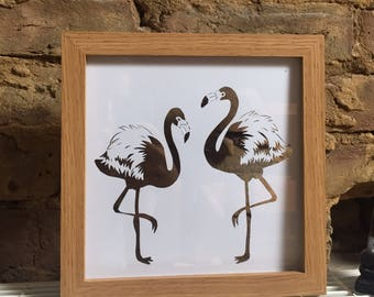 Flamingos paper cut design. Box frame 8x8inches.