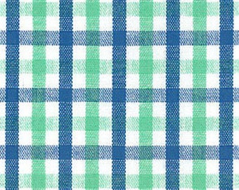 Royal Blue and Jade Check Fabric - Fabric Finders Fabrics - Check Fabrics - Children Fabric - 100% Cotton - 60″Width -Gingham Fabric by Yard