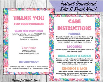 LLR Thank you and Care Cards - Edit and Print - 4 Cards per Sheet - Avery 8387 Template - Instant Download