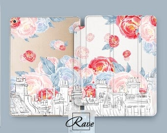 Peony flowers Building print Floral City pictures iPad 5th gen case iPad pro 10 5 inch Mini iPad case iPad smart cover iPad 2017 case Mini
