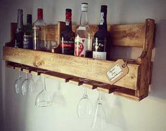 Unique Large Dark Rustic Upcycled Pallet Wood Wine Rack