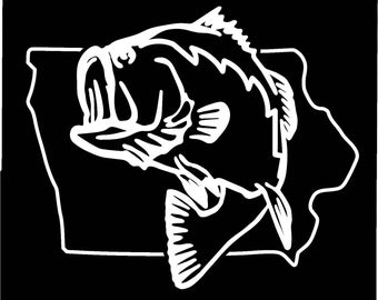 Iowa Largemouth Bass Fishing state outline window sticker decal