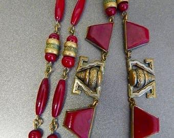 Czech, Neiger, Vintage, Brass, Red Glass, Art Deco Necklace