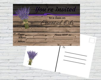 Essential Oil Class Invitation | Essential Oil Class Invite, Printable, 4x6 Printable, Oil Class Invitation, Rustic Wood, Instant Download
