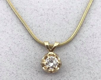 Beautiful Solid 14k Yellow Gold Necklace with 0.25 Ct Diamond Pendant! 18 Inch!