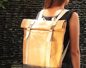 Backpack - Convertible Messenger Bag, like leather backpack bag, travel bag, bicycle bag, washable paper bag, eco friendly vegan bag