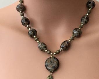 Brown Venetian Glass And Golden Metal Bead Necklace
