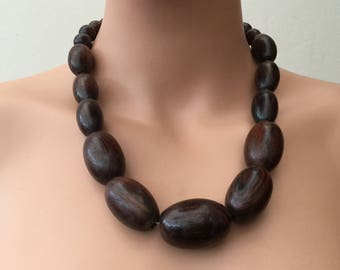 Huge Wooden Beaded Necklace , Brown Wood Bead Necklace