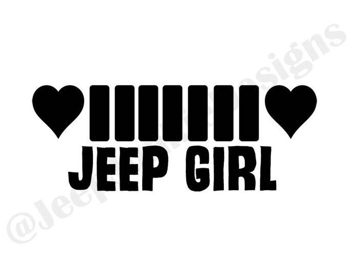 Jeep Girl Heart Grill Vinyl Decal