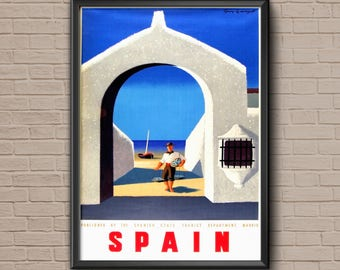 Spain Travel Poster, spain poster, travel decor, vintage travel, spain art, spain print, spanish poster, spain art print, spain wall art