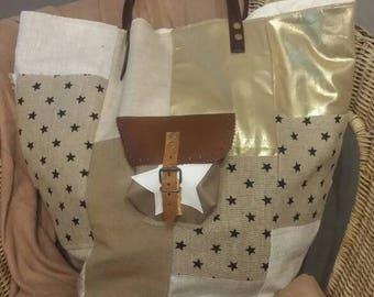 Patchwork style pomponette linen bag