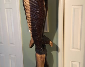 Eagle Chainsaw Carving 52 Inches Tall, Chainsaw Carved from Walnut