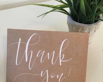 Thank You, Greeting Card, Hand Lettered
