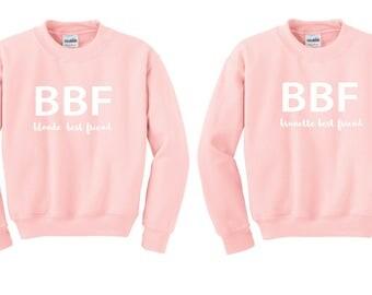 Brunette Blonde Crewneck, Brunette Blonde Sweater, brunette blonde sweatshirt, Bff Sweater, Bff Jumper, Bff Pullover, duo sweatshirts