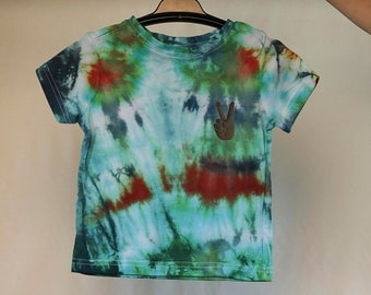 25% OFF ENTIRE SHOP Size 1T - Ready To Ship - Unisex Baby - Children - Kids - Iced Tie Dyed T-shirt - Green - Blue - 100 Percent Cotton - Fr