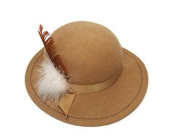 Camel Color Doeskin Felt Hat Brim with Feather and Ribbon on Side Vintage Geo W Bollman Made in USA Wool