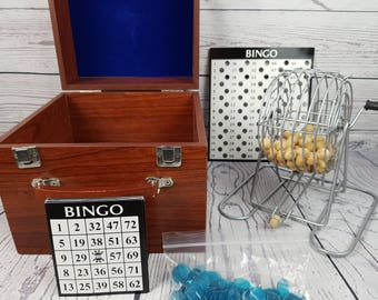 Vintage Bingo w/ Wood Carry Box Case Bingo Cage Spinner Wood Number Balls Monte Carlo Style Cards & Markers Retro Family Board Game Night