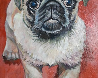 "Custom dog portrait, Original acrylic pet painting, custom pet portrait, Unique gift item for pet lovers,  Beloved pet painting, ""8X10"""