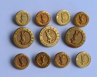 Yves Saint Laurent Gold tone metal buttons Very rare vintage YSL logo