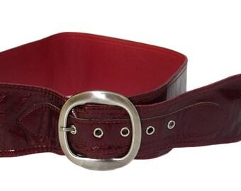 Vintage women belt red burgundy
