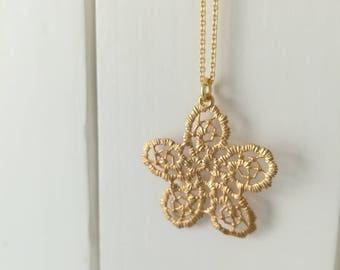 Brass filigree flower necklace-yellow gold-Sicilian Plots