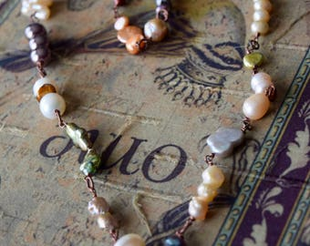 Freshwater Asymmetrical Pearl and Copper Artisan Necklace~ Multi Pearl Necklace~ Layering Necklaces~ Boho Chic Necklace