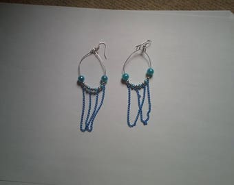 Turquoise beads and chains earrings
