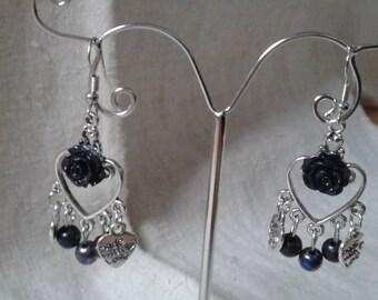 Black beads and Flower Earrings