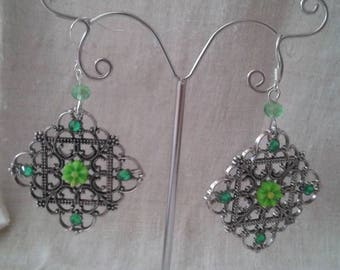 """square print and green flower"" earrings"