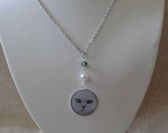 """necklace """"white Persian Cat"""""""