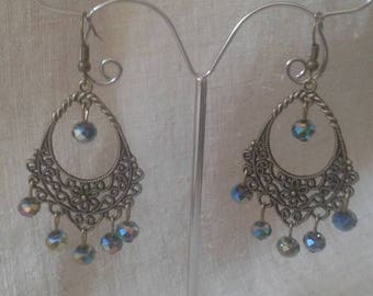 Multicolor beads and bronze earrings