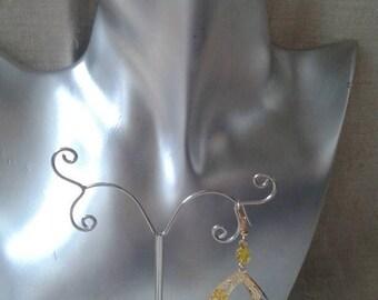 dangle earrings oval yellow