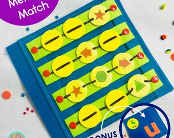 Memory Match Game Quiet Book Page for TinyFeats Activity Book- Best Preschool Educational Toys - Travel Toys for Airplane or Long Car Rides