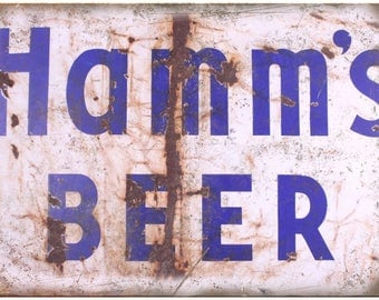 """10"""" x 7"""" Metal Sign Hamms Beer Rusted Sign Vintage Look Reproduction"""