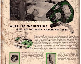 "Denison Johnson Co. Fishing Reel Vintage Ad 10"" x 7"" Reproduction Metal Sign"