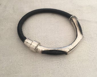 Silver plate and black leather bracelet