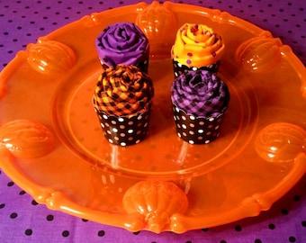 Halloween Fabric, Halloween Fat Quarters, Purple Polka Dot Fabric, Orange Polka Dot Fabric, Halloween Cupcakes Fat Quarter Bundle Set