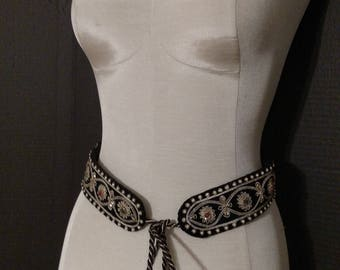 "Vintage embroidered ""Dynasty"" belt, soft velvet and rope, 1980's, black with gold embroidery, small red and green beads"